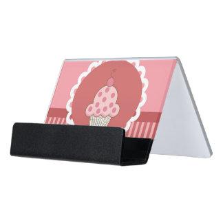 Pink Cupcake Design Desk Business Card Holder