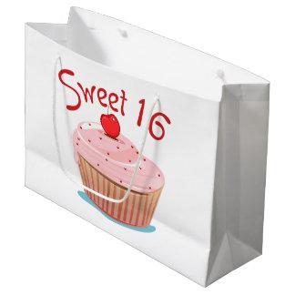 Pink Cupcake Design Sweet 16 Large Gift Bag