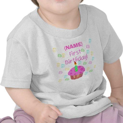Pink Cupcake First Birthday Customized T-shirts