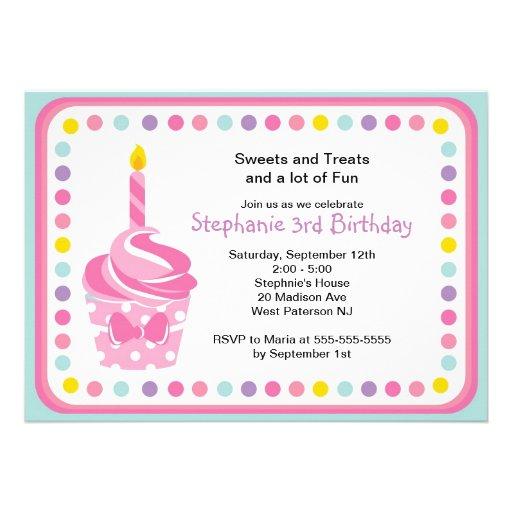 Pink Cupcake Girls 1st  Birthday Party Invitation