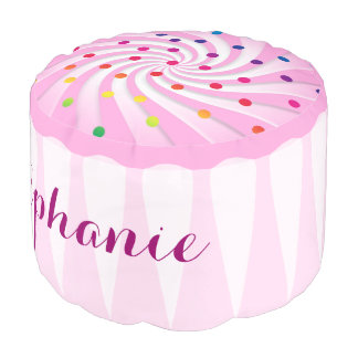 Pink Cupcake Girl's Personalized Room Decor Round Pouffe