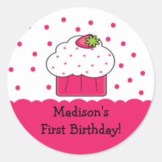 Pink Cupcake Happy Birthday Sticker