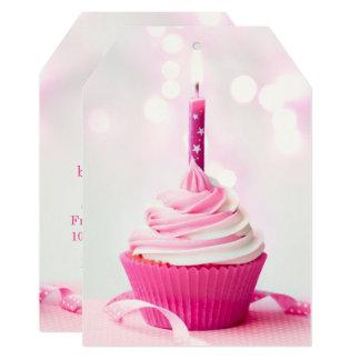 Pink Cupcake Invitation Tag