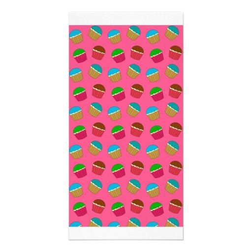 Pink cupcake pattern photo card template