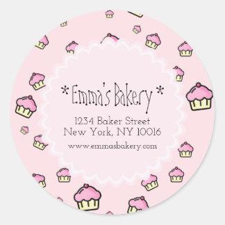 Pink Cupcake Pattern - Round Bakery Sticker