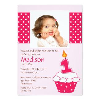 Pink Cupcake Photo Birthday Invitation