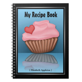 Pink Cupcake Reflection Blue Recipe Notebook