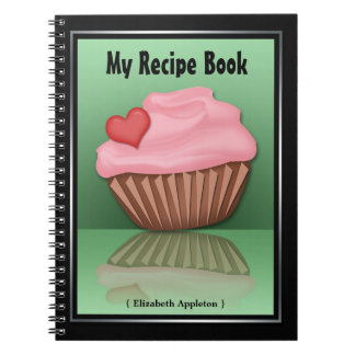 Pink Cupcake Reflection Green Recipe Notebook