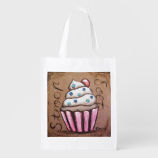 Pink cupcake reusable bag