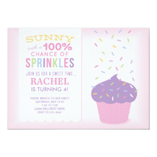 Pink Cupcake Sprinkles Birthday Card 13 Cm X 18 Cm Invitation Card
