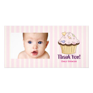 Pink Cupcake Thank You Photo Cards