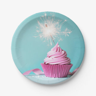 Pink Cupcake Themed Paper Plates 7""