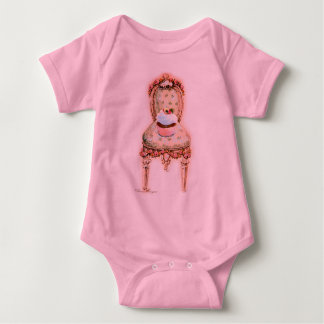 Pink Cupcake Victorian Chair Baby Tshirts