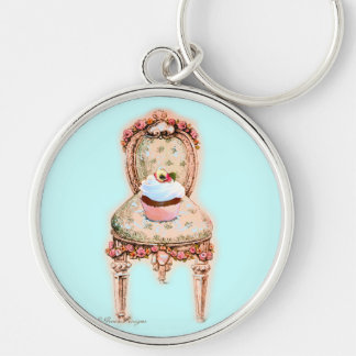 Pink Cupcake & Victorian Chair Key Chain