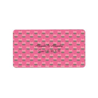 Pink cupcake wedding favors address label