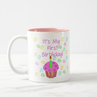 Pink Cupcake With Candle First Birthday Two-Tone Mug