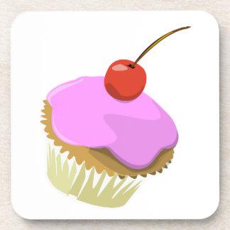 Pink cupcake with cherry cork coaster