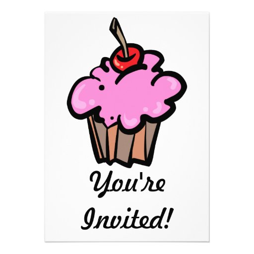 Pink Cupcake with Cherry Personalized Announcements