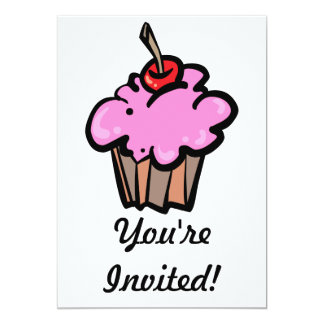 Pink Cupcake with Cherry 13 Cm X 18 Cm Invitation Card