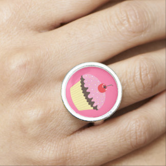 Pink Cupcake with Cherry on Top Rings