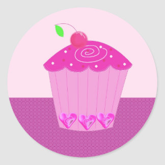 Pink Cupcake with Cherry on Top Round Sticker