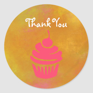 Pink Cupcake with Cherry On Top Thank You Round Sticker