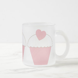 Pink Cupcake with Heart Frosted Glass Mug