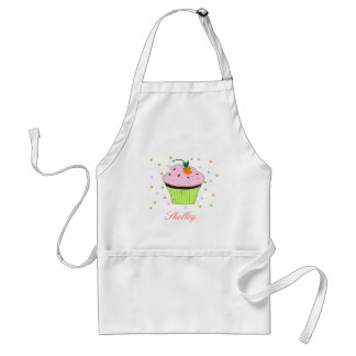Pink Cupcake with Name Standard Apron