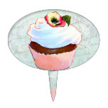 Pink Cupcake with Pansy Cake Toppers