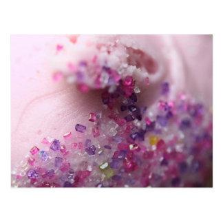 Pink cupcake with pink and purple sugar postcard