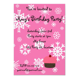 Pink cupcake with pink snowflakes pattern 11 cm x 16 cm invitation card