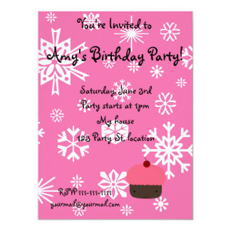 Pink cupcake with pink snowflakes pattern custom invitation