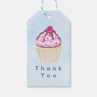 Pink Cupcake with Raspberry on Top Thank You Gift Tags