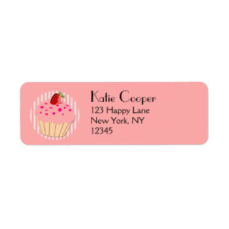 Pink Cupcake with strawberry and sprinkle Return Address Label