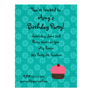 Pink cupcake with turquoise flowers pattern custom invitation
