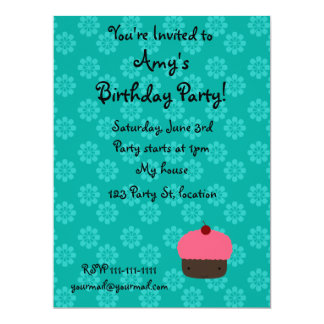 Pink cupcake with turquoise flowers pattern 6.5x8.75 paper invitation card