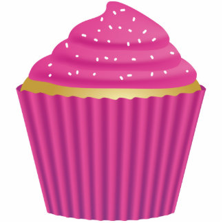 Pink Cupcake with White Sprinkles Standing Photo Sculpture
