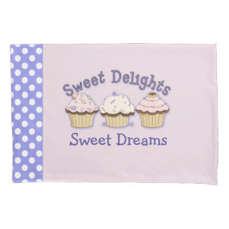 Pink Cupcakes and Polka Dots Pillow Case
