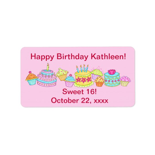Pink Cupcakes /Cake Happy Birthday Sweet 16 Address Label