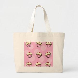 Pink cupcakes large tote bag