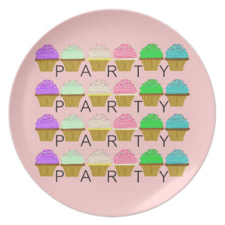 Pink Cupcakes Party Plate
