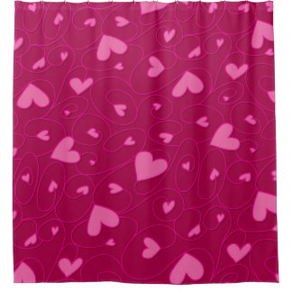 Pink curly hearts shower curtain