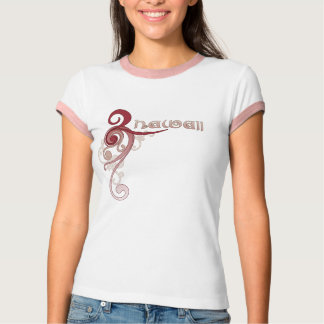 Pink Curly Swirl Hawaii Ringer T-Shirt