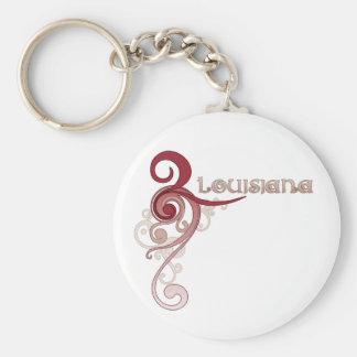Pink Curly Swirl Louisiana Keychain