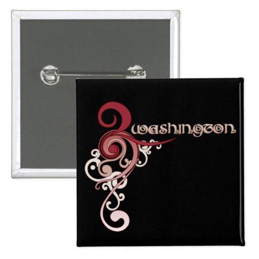 Pink Curly Swirl Washington Button Dark