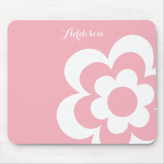 Pink Custom Mouse Pads With White Flower