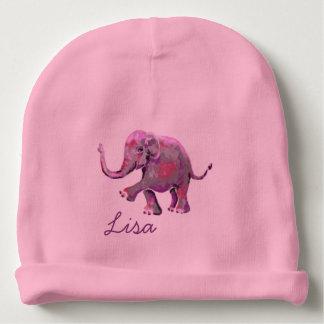 Pink Custom Name Cute Cheeky Baby Elephant Baby Beanie