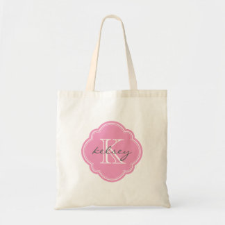 Pink Custom Personalized Monogram Budget Tote Bag