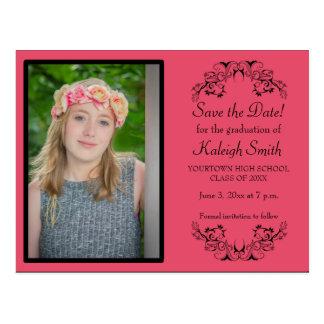 Pink Custom Photo Graduation Save the Date Card