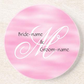 Pink Custom Wedding Monogram Beverage Coasters